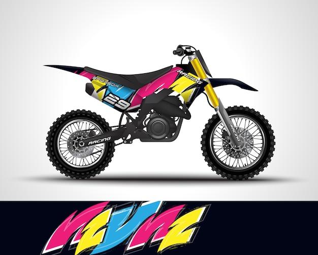 Illustrazione della decalcomania dell'involucro di motocross