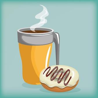 Illustrazione della deliziosa tazza di caffè e ciambelle