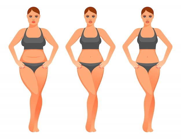 Illustrazione della donna graziosa prima e dopo la dieta