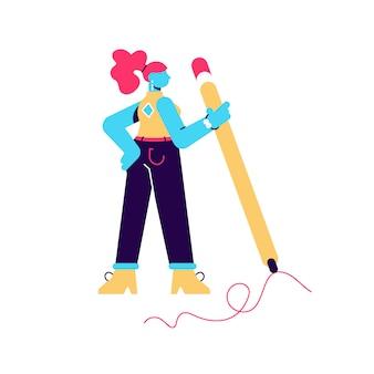 Illustrazione della donna tenere grande matita e disegno. processo di scrittura a mano. ragazza creativa. carattere umano su sfondo bianco isolato. design moderno in stile piatto per pagina web, social media, poster