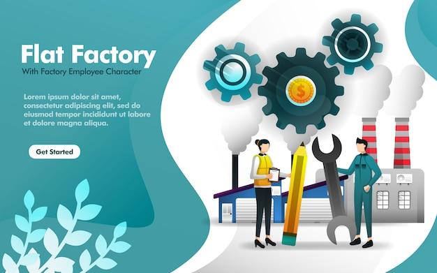 Illustrazione della fabbrica piana con la costruzione e l'impiegato