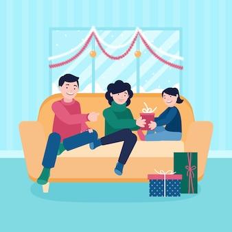 Illustrazione della famiglia di natale nella progettazione piana