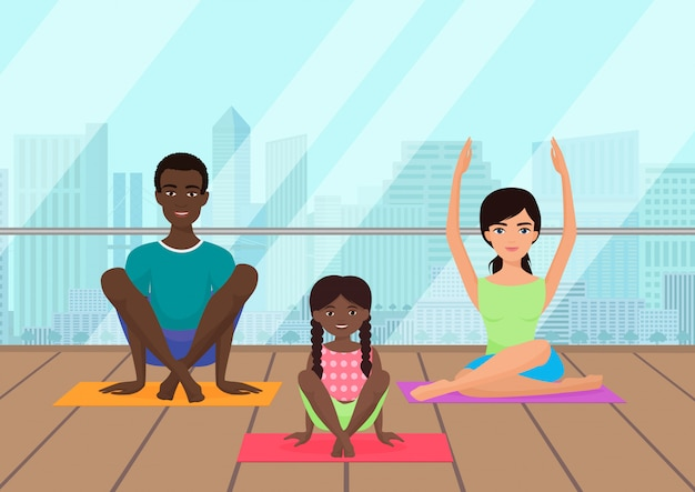 Illustrazione della famiglia multietnica che medita nella sala fitness della città.
