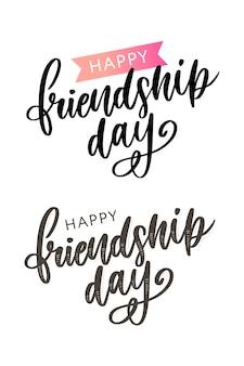 Illustrazione della felicitazione felice disegnata a mano di giorno di amicizia nello stile di modo.