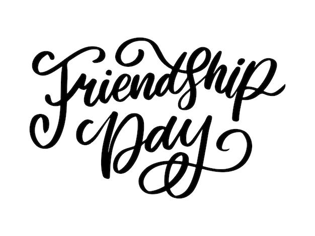 Illustrazione della felicitazione felice giorno di amicizia disegnata a mano in stile moda con segno di testo lettering e triangolo di colore per effetto grunge su sfondo bianco