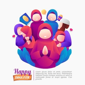 Illustrazione della festa di eid al-fitr con una famiglia felice