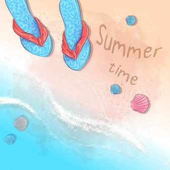 Illustrazione della festa estiva sulla spiaggia con un cappello e ardesie sulla sabbia in riva al mare