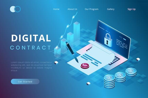 Illustrazione della firma dei contratti, degli accordi e delle politiche digitali online nello stile isometrico 3d