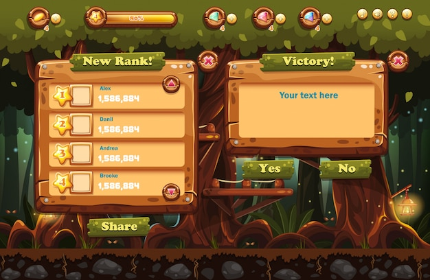 Illustrazione della foresta fatata di notte con torce elettriche ed esempi di schermate, pulsanti, barra di progressione per giochi per computer e web design. imposta 3.