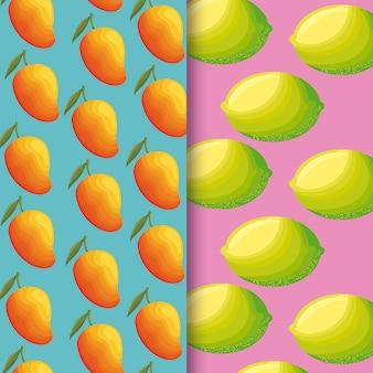 Illustrazione della frutta fresca dei mango e dei limoni