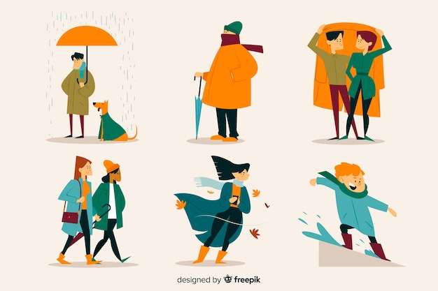 Illustrazione della gente che cammina in autunno