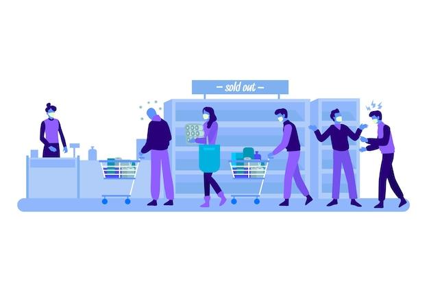 Illustrazione della gente che compera al supermercato