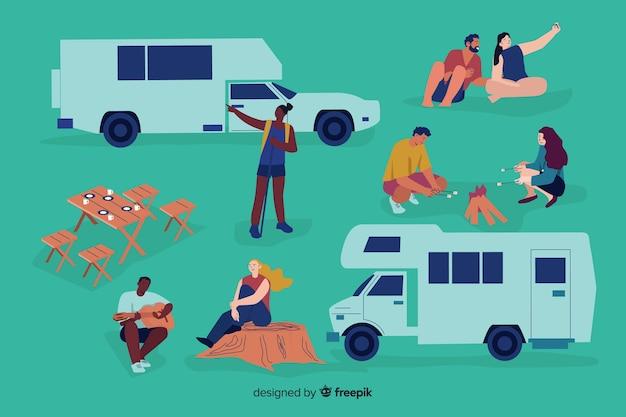Illustrazione della gente che fa campeggio