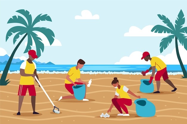 Illustrazione della gente che pulisce spiaggia