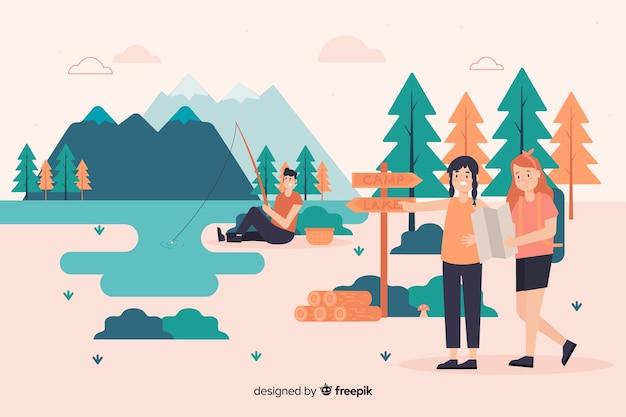 Illustrazione della gente che si accampa in natura