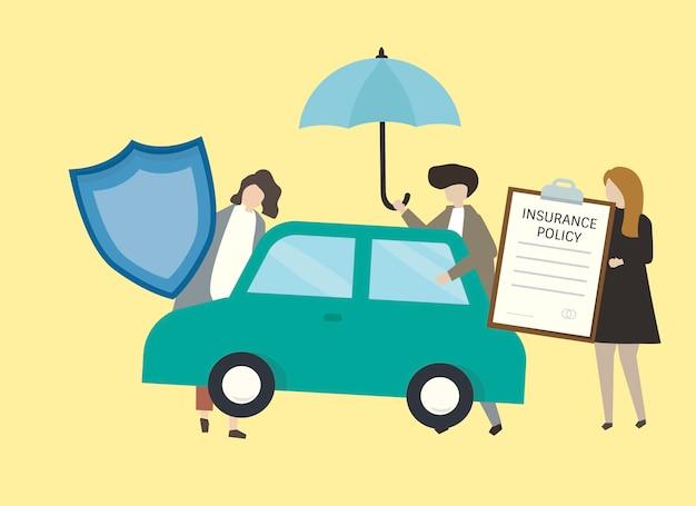 Illustrazione della gente con l'illustrazione dell'assicurazione auto