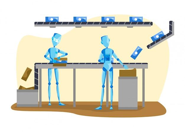 Illustrazione della gente e del robot, macchina del fumetto che lavora al nastro trasportatore, prodotti d'imballaggio dal trasportatore su bianco