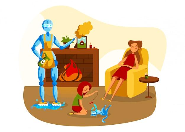 Illustrazione della gente e del robot, personaggio a macchina del fumetto in grembiule che fa compito, lavando pavimento su bianco