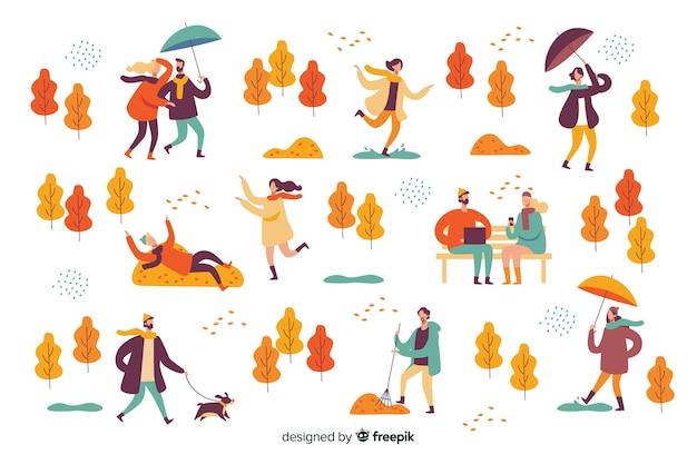 Illustrazione della gente nel parco di autunno