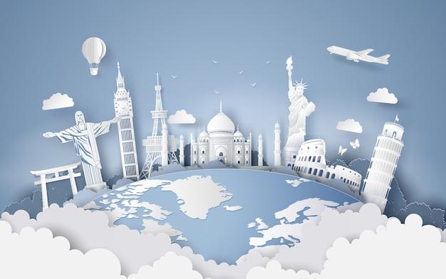 Illustrazione della giornata mondiale del turismo, arte carta stlye.
