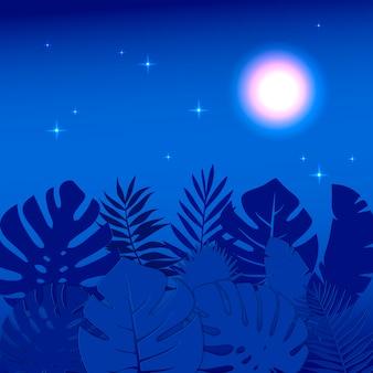 Illustrazione della giungla floreale di notte di estate con le foglie di monstera. le stelle e la luna si illuminano di notte.
