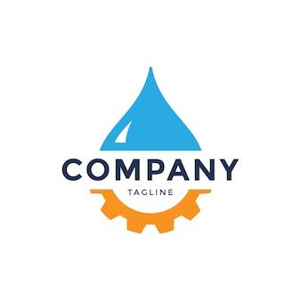 Illustrazione della goccia di acqua blu con i denti degli ingranaggi. modello di progettazione logo vettoriale. concetto astratto per tema ecologia, energia eco verde, tecnologia e industria.