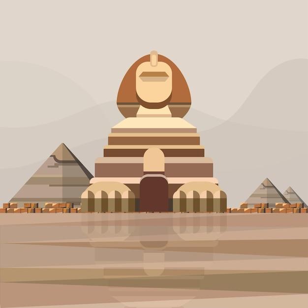 Illustrazione della grande sfinge di giza