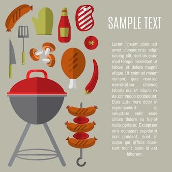 Illustrazione della griglia del barbecue con il modello del testo