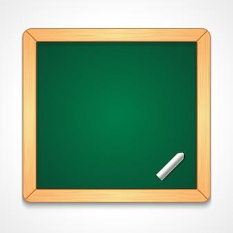 Illustrazione della lavagna verde vuota di forma rettangolare con semplice cornice di legno con un pezzo di gesso