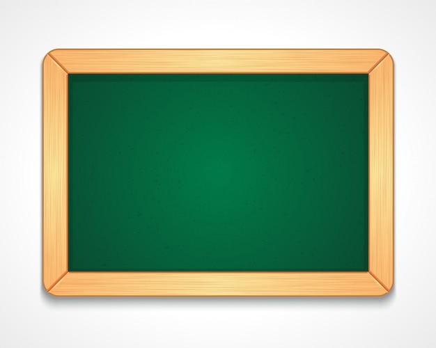 Illustrazione della lavagna verde vuota di forma rettangolare con semplice cornice di legno