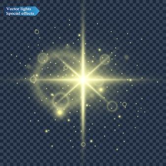 Illustrazione della luce di una stella per una bella immagine su uno sfondo trasparente, con riflessi e splendore