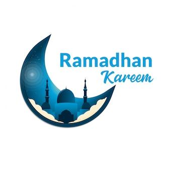 Illustrazione della luna di ramadhan kareem
