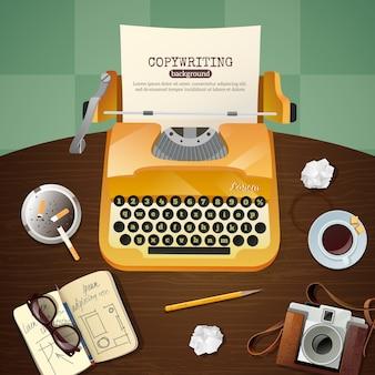 Illustrazione della macchina da scrivere dell'annata del giornalista
