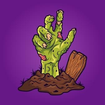 Illustrazione della mano di zombie