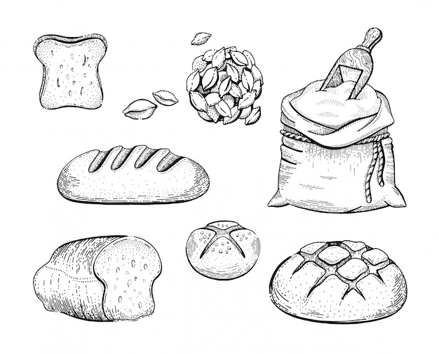 Illustrazione della mano disegnare set da forno sacchetto di farina, pane, spiga di grano, concetto abbozzato. disegno a tratteggio nero dell'inchiostro isolato su fondo bianco. icone vintage retrò di incisione