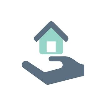 Illustrazione della mano sotto la casa per l'icona del bene immobile