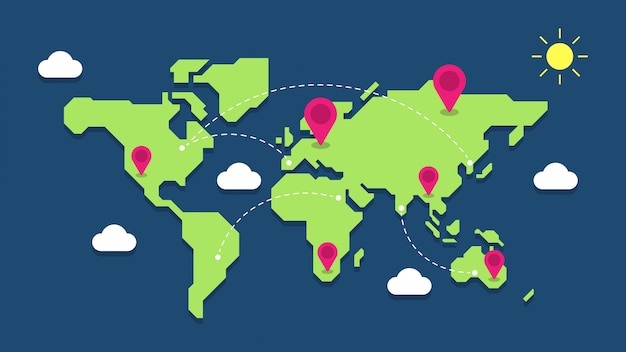 Illustrazione della mappa di mondo con i perni di posizione geografica