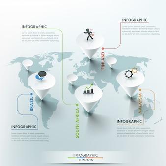 Illustrazione della mappa di mondo di vettore 3d