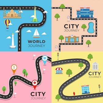 Illustrazione della mappa di viaggio