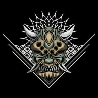 Illustrazione della maschera arrabbiata di ronin