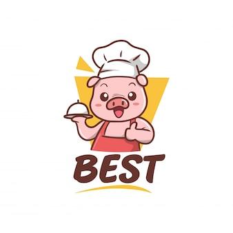Illustrazione della mascotte cheaf maiale carino