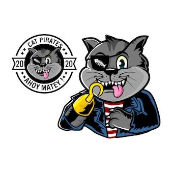 Illustrazione della mascotte dei pirati di gatto