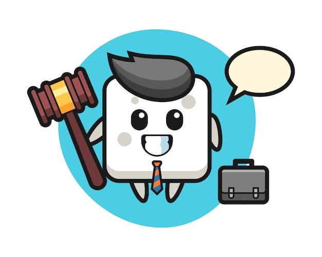 Illustrazione della mascotte del cubo dello zucchero come avvocato, stile carino per t-shirt, adesivo, elemento logo