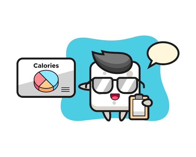 Illustrazione della mascotte del cubo dello zucchero come dietista, stile sveglio per la maglietta, autoadesivo, elemento di logo
