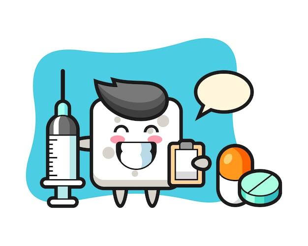 Illustrazione della mascotte del cubo dello zucchero come medico, stile carino per t-shirt, adesivo, elemento logo