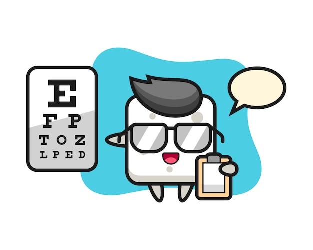 Illustrazione della mascotte del cubo dello zucchero come oftalmologia, stile sveglio per la maglietta, adesivo, elemento di logo