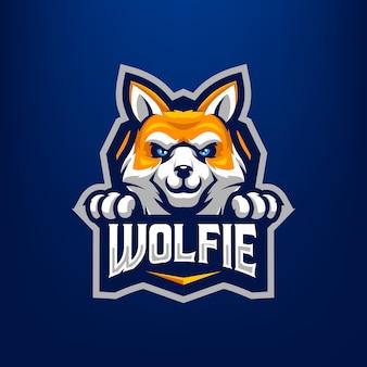 Illustrazione della mascotte del lupo per gli sport e gli esports logo isolato su fondo blu scuro