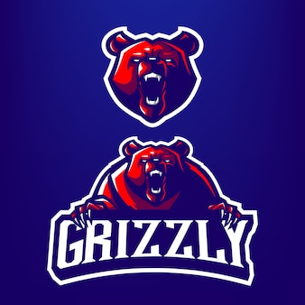 Illustrazione della mascotte dell'orso grigio per gli sport e il logo di esports isolato su fondo blu scuro