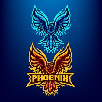 Illustrazione della mascotte dell'uccello di phoenix per gli sport e gli esports logo isolato su fondo blu scuro