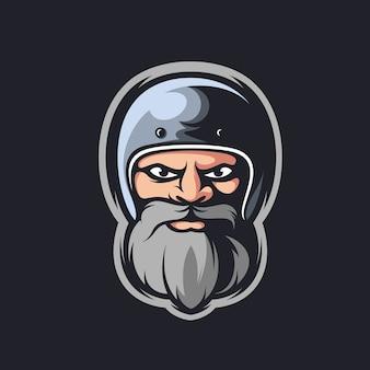 Illustrazione della mascotte dell'uomo della barba del casco